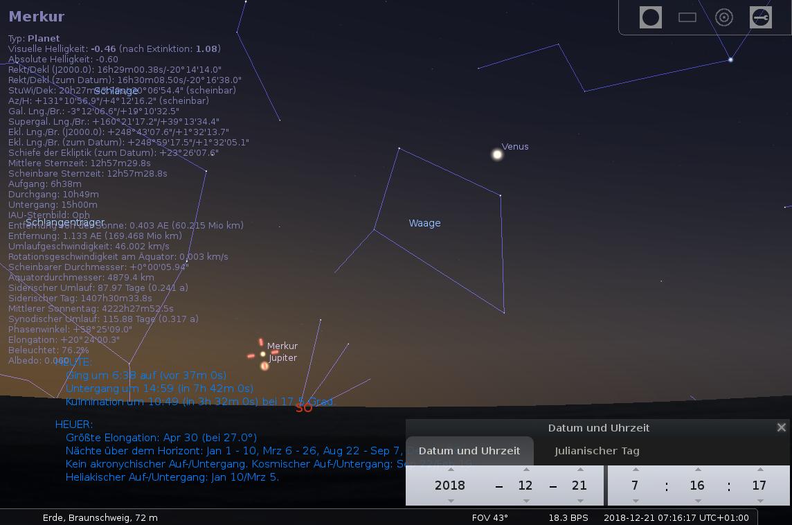 Jupiter bei Merkur